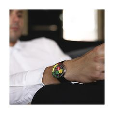 A modern British-designed men's chronograph watch. Stainless steel case with multicoloured chronograph subdials in contemporary colour. Interchangeable multicoloured canvas and black leather straps. G Shock Watches, Men's Watches, Latest Watches, Black Italians, Modern Watches, New Launch, Red Green Yellow, Normal Wear And Tear, Watch Sale