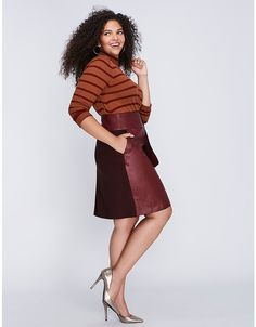 Tie-Waist Mixed Fabric Skirt by Melissa McCarthy Seven7 | Lane Bryant