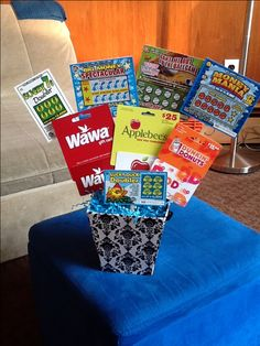 Gift Card Lottery Ticket Basket Just The Picture I Used A Foam Square In Base And Taped Items To Popsicle Sticks