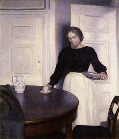Vilhelm Hammershoi (Danish Artist, 1864–1916) Setting the Table.