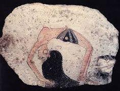 Ostrakon con schizzo di danzatrice ,1292 - 1186 a.C. Scaglia di calcare dipinto, Torino, Museo Egizio