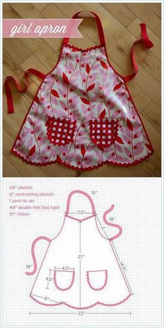Sweetest little girl's apron - Best Sewing Tips Sewing Hacks, Sewing Tutorials, Sewing Crafts, Sewing Projects, Sewing Patterns, Kids Apron Patterns, Child Apron Pattern, Knitting Patterns, Sewing Aprons