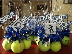 Festive tennis balls can be used for US Open Watch Party ideas