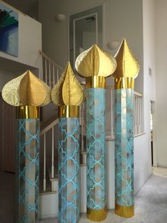 Andrea's Arabian Nights: My own props: minarets towers 8 and 9 ft tall ( foam core boards, paint, foil)