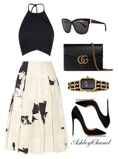 """Untitled #28"" by shopashleychanel ❤ liked on Polyvore featuring Donna Karan, Christian Louboutin, Rebson, Christian Dior, Chanel and Gucci"