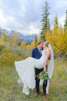 With the Canadian Rocky Mountains as a back drop, this intimate vow renewal shoot captured by Jessilynn Wong Photography and styled by Signature Weddings by Wedding Couple Photos, Wedding Couples, Pink Wedding Dresses, Wedding Colors, Camp Wedding, Dream Wedding, Wedding Theme Inspiration, Wedding Supplies, Wedding Decorations