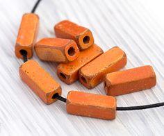 Greek Earthy Ceramic Square Tubes, Terracotta Beads, Rectangle Beads, Orange Tube Spacers, 16x6mm, Mykonos Greek Ceramic Beads, 10Pc - MK262 by TreeTerracom on Etsy