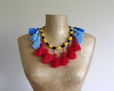 Unique tribal tassel necklace handmade from yarn in red by Paczula