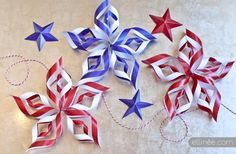 Fourth of July paper stars- 22 Patriotic DIY Decorations for Perfect of July Celebration Fourth Of July Decor, 4th Of July Celebration, 4th Of July Decorations, 4th Of July Party, July 4th, Altar Decorations, Patriotic Party, Patriotic Crafts, July Crafts