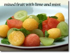 mixed fruit with lime and mint