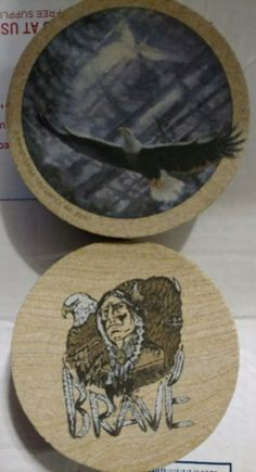 Thirsty Stone Coasters Lot Of 8 Eagles Wolf Brave American Indian