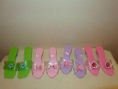 4 pair Girls Play Dress Up Shoes - plastic high heels Lot