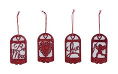Primitives By Kathy Miniature Paper & Glitter Silhouette Valentine Ornaments