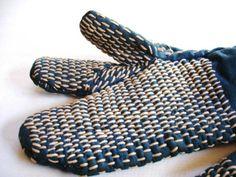 Japanese Vintage Textile Sashiko Cotton Mittens