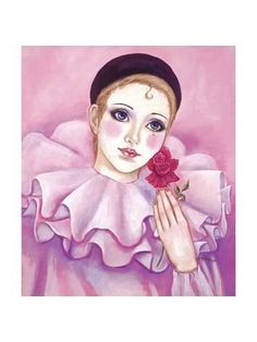 Giclee Print: Mime with Rose by Judy Mastrangelo : Clown Paintings, Watercolor Paintings, Illustrations, Illustration Art, Pierrot Clown, Art Rose, Send In The Clowns, Pink Art, Animation
