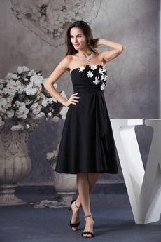 Γραμμή Α Λουλούδι Σιφόν Χάνει Στράπλες Αμάνικο Κοκτέιλ φορέματα Μαύρα  Φορέματα Για Χορούς Αποφοίτησης a60ea380033