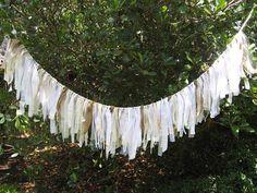 Wedding Banner, Wedding Garland, Wedding Decoration, Rustic Wedding Decor, Fabric Garland, Shabby Cottage Chic, Bridal Shower Decor by AWorkofHeartSA on Etsy, $80.00