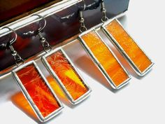 Orange Stained Glass Earrings 2 Pair by AfricanSand on Etsy, $25.00