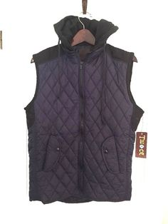 NWT Twoce Jacket Men's Size Large Hoodie Navy Blue Quilted Vest Coat Jacket #Twoce #Vest