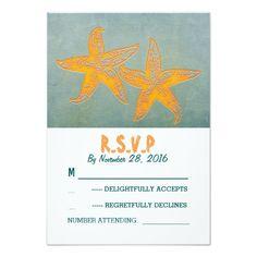 Orange starfish beach wedding RSVP cards