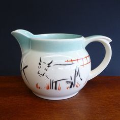 Vintage Large Milk jug with cow and red poppies hand painted. mid century design.