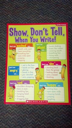 """Show Not Tell for composition writing.....Follow for Free """"too-neat-not-to-keep"""" teaching tools & other fun stuff :)"""