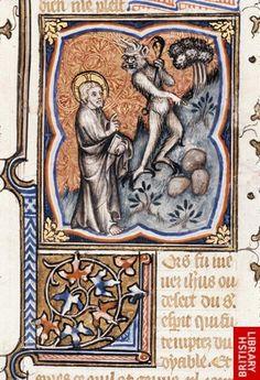 Guyart des Moulins. La Bible historiale complétée (Genesis - Psalms). France, Central (Paris?). c. 1357. Royal 17 E VII  f. 135. Temptation of Christ