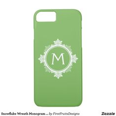 Snowflake Wreath Monogram in Lime Green & White iPhone 7 Case