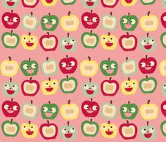apples pink fabric by heidikenney on Spoonflower