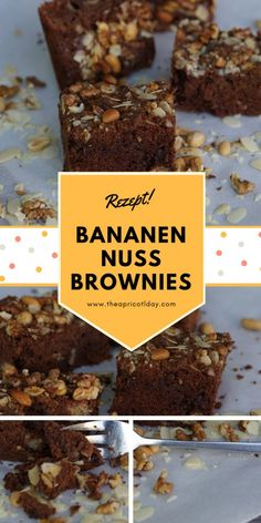 einfache Bananen-Nuss Brownies super saftig mit crunchy N ssen als Topping brownie rezept banana schokolade chocolate Banana Nut Brownies, Cake Mix Brownies, Brownie Mix Cookies, Chewy Brownies, Homemade Brownies, Best Brownies, Chocolate Brownies, Chocolate Chocolate, Nutella Cookie