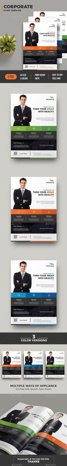 You can use this template for any kind of company or business promotion as well as advertising. Fully editable template, you change images and texts by some simple clicks. Features of Corporate Paper Size With Bleed 0 Free Flyer Templates, Business Flyer Templates, Print Templates, Flyer Free, Business Flyers, Corporate Brochure, Brochure Design, Flyer Design, Logo Magazine