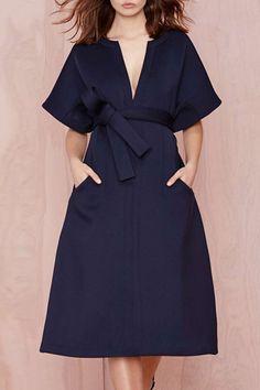 V-Neck Solid Color Belt Short Sleeve Dress