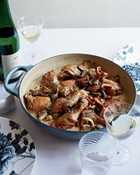 In this creamy take on coq au vin, the chicken is braised in dry Riesling and silky-rich crème fraîche is stirred in at the end, making it extra-decadent.Plus: More Chicken Recipes Wine Recipes, Cooking Recipes, Cooking With White Wine, Cooking Wine, Wine Food, Food Food, Food & Wine Magazine, Ga In, Le Diner