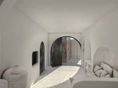 """""""White Cave Suite"""", Karterados SantoriniKarterados, Santorini2019 - 2020PrivateWork in progress204 m2When we first visited this property, located in the traditional village of Karterados, on Santorini island, all we found was two abandoned underground caves and two derelict buildings, no larger than 16 m2 each. Each cave had a unique façade, as they had been constructed during different time periods. The main design idea focused on highlighting every unique feature of the already existing Interior Garden, Interior Design, Derelict Buildings, Hotel Architecture, One Bedroom Apartment, Villa Design, Glass Door, Facade, Indoor"""