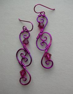 Pink Wire Spiral Earrings  Magenta Swirl by silverowlcreations, $42.00
