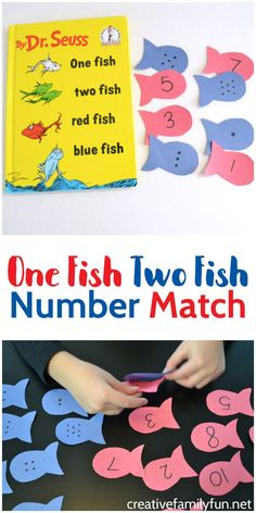 One Fish Two Fish Number Match Play a fun number match game inspired by Dr. Seuss's One Fish Two Fish Red Fish Blue Fish One Fish Two Fish Number Match Play a fun number match game inspired by Dr. Seuss's One Fish Two Fish Red Fish Blue Fish Kindergarten Math Games, Math Games For Kids, Preschool Lessons, Preschool Crafts, Preschool Activities, Number Games Preschool, Teaching Numbers, Kids Fun, Number Games For Preschoolers