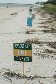 beach proposal, reasons why i love you, hand painted signs, daufuskie island, south carolina, roses, moreland photography