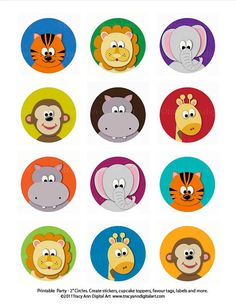Items similar to Jungle Cupcake Toppers Zoo Animal Cupcake Toppers 2 inch Circles or Squares for Party Favours and more on Etsy Jungle Party, Safari Party, Safari Theme, Zoo Animal Cupcakes, Jungle Cupcakes, Deco Baby Shower, Printable Animals, Bottle Cap Crafts, Bottle Cap Images