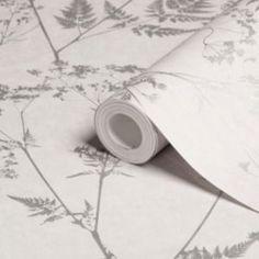 Graham & Brown Gilded Fern Grey Leaf Metallic Wallpaper