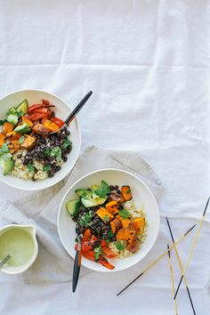 sweet potato + black bean burrito bowls with cumin garlic drizzle