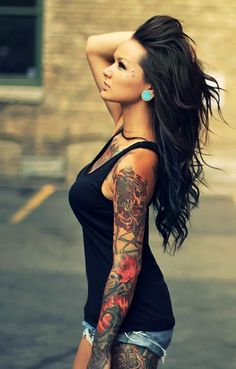 Sleeve #tattoo, facial piercings, wavy black hair!!!