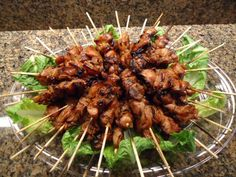 We got invited to a pot luck cocktail party last July (I know, I'm just catching you up), so I figured I'd make cocktail-sized teriyaki chicken skewers on the grill…it was for 20 … Party Food Buffet, Appetizer Buffet, Party Food Platters, Appetizer Recipes, Party Snacks, Appetizers For Party, Teriyaki Chicken Skewers, Party Chicken, Cocktail Party Food