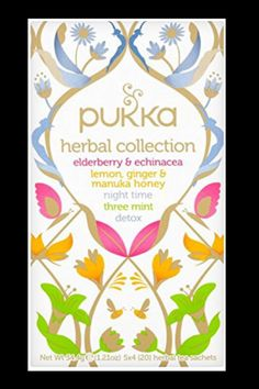 Pukka Herbal Collection, Selection of Five Or... (0 customer reviews) £13.15 Your box of herbal delight. Sing, dance, love, live Elderberry & Echinacea – Lemon, Ginger, and Manuka Honey – Night-Time – Three Mint – Detox Five delicious, organic award-winning teas Organic Herbal Tea, Organic Green Tea, Organic Herbs, Herbal Teas, Pukka Tea, Pukka Herbs, Tea Tag, Marshmallow Root, Packaging Design Inspiration