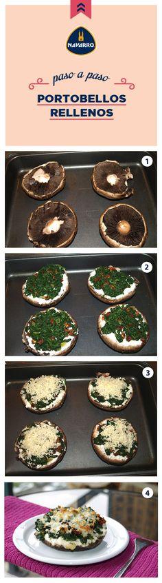 ¡Se desbordan de sabor estos portobellos! Prepáralos con 4 champiñones portobello sin tallo, 1/2 taza de Queso Manchego NAVARRO, 7 tazas de espinaca picada, 1/3 taza de cilantro picado, 2 dientes de ajo, 4 cucharadas picado tomates secos, aceite de oliva y salpimentar al gusto. Veggie Recipes, Vegetarian Recipes, Cooking Recipes, Healthy Recipes, Portobello Rellenos, Comida Diy, Queso Manchego, Deli Food, Salty Foods