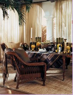 Another Ralph Lauren ad : wicker furniture and a mahogany table used at Round Hill-Jamaica. Jamaica, Ralph Lauren Safari, Rattan, British Colonial Decor, Dutch Colonial, Home Collections, Decoration, House Design, Garden Design