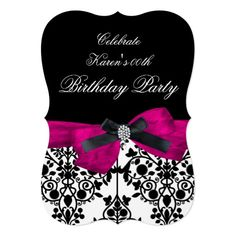 Add Age Birthday Party Pink Damask Black White Invitation