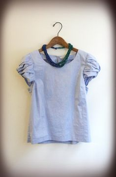 Perla blue x green combination necklace with brisk color shirt Tees, Shirts, Summer, Blue, Color, Women, Fashion, Moda, T Shirts