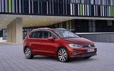 Indir duvar kağıdı Volkswagen Golf Sportsvan, 4k, 2018 arabalar, yüz germe, kırmızı Golf, VW, Volkswagen