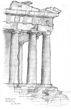 In-situ sketch of the corner of the Parthenon at the Acropolis, Athens, Greece - Schöne Orte Zum Reisen Architecture Sketchbook, Art Sketchbook, Pencil Art Drawings, Art Drawings Sketches, Greece Drawing, Temple Drawing, Greece Destinations, Travel Destinations, Athens Greece