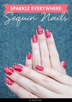 Sparkle Everywhere: Sequin Nails #nails #NailArt #NailDesigns